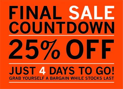 COUNTDOWN TO THE END OF THE NEW YEAR SALE!